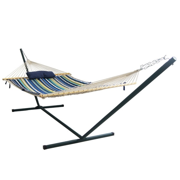 Island Retreat Hammock Set with Blue Stripe Pad
