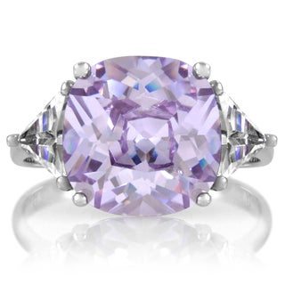 Sterling Silver Cushion-cut Lavender Cubic Zirconia Engagement Ring