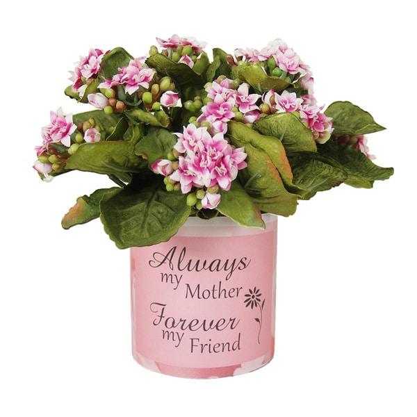Pink Kalanchoe Silk Floral Arrangement in Mother's Day Glass Vase
