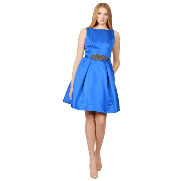 Theia Royal Blue Embellished Pleated Sleeveless Cocktail Dress