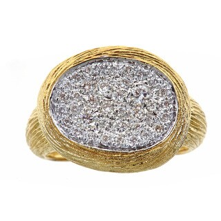 14k Yellow Gold 3/5ct TDW Diamond Textured Ring (H-I, SI1-SI2)
