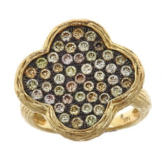 14k Yellow Gold 1 1/6ct TDW Champagne Diamond Textured Clover Ring