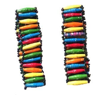 Set of 2 Namuwongo Recycled Paper Flat Beads Multi-colored Bracelets (Uganda)