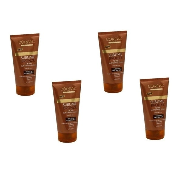 L'oreal Paris Sublime Bronze Tinted Medium Natural Tan Self-tanning Lotion (Pack of 4)