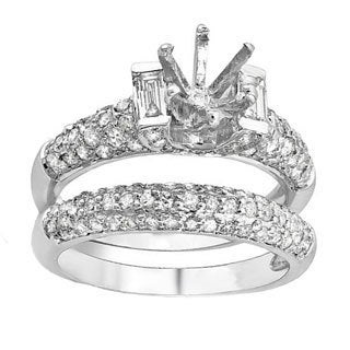 14k White Gold 1.65 CTW Round/Baguette Diamond Semi Mount Ladies Bridal Engagement Ring Set (H-I, I1-I2)