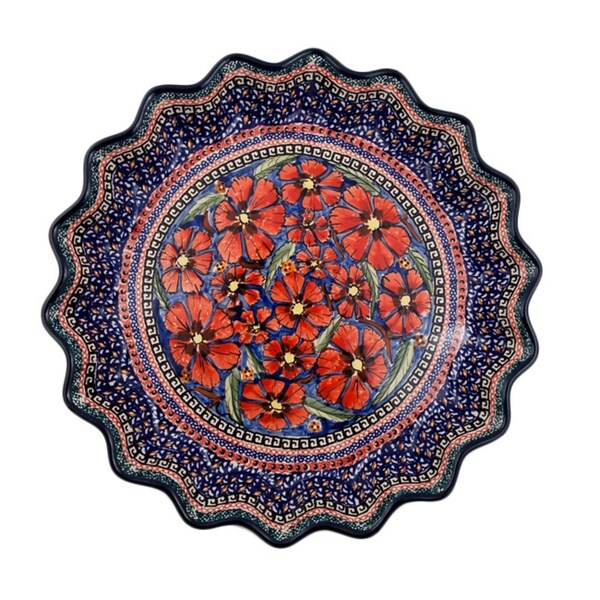 Polish Stonware Red and Blue Quiche Dish (Poland)