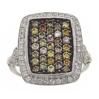 14k White Gold 1 1/4ct TDW Yellow and White Diamond Square Ring (H-I, SI1-SI2)