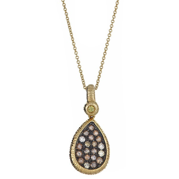 Beautiful Diamond Tear Drop Pendant 14 Karat Yellow Gold Textured