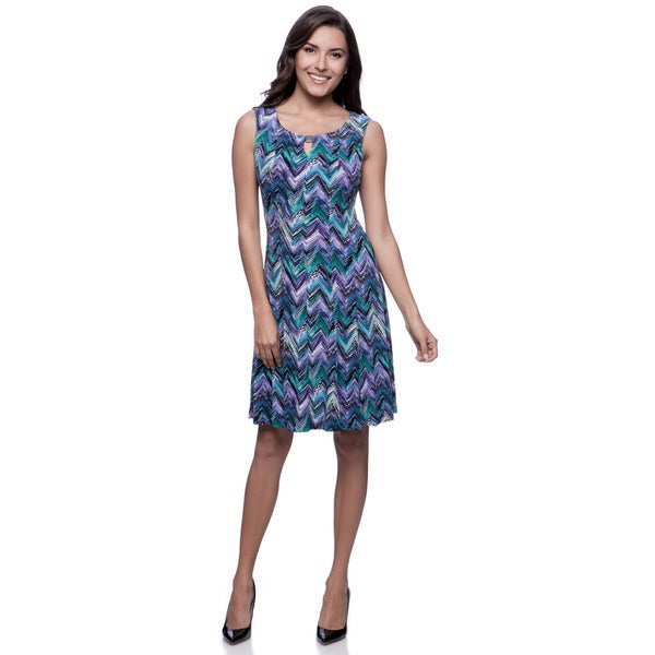 Connected Apparel Women's Petite Purple Fit-and-Flare Dress with Bar Keyhole