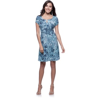 Connected Apparel Petite Blue Print Fit-and-Flare Dress with Bar Keyhole
