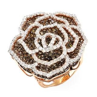 14k Rose Gold White and Champagne 5.68 CTW Diamond Rose Flower Ring (H-I, I1-I2)