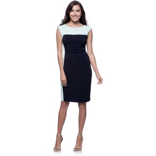 Connected Apparel Petite Navy and Aqua Colorblocked Side-ruched Dress