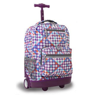 J World New York Sunset Checkmate 18-inch Rolling Backpack