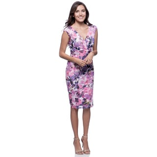 Connected Apparel Women's Pink Floral Mesh Side-ruched Dress