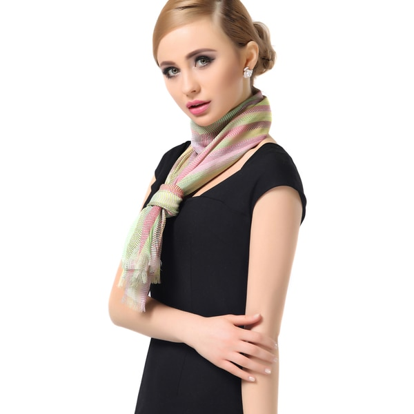 Lemonpaier Women's Multicolor Stripes Print Modal Cashmere Scarf