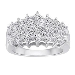 10k White Gold 2ct TDW Diamond 5-row Ring (H-I, I2-I3)