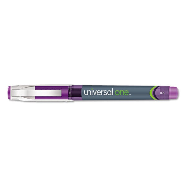 Universal One Purple High Capacity Roller Ball Stick Gel Pens (Pack of 3)