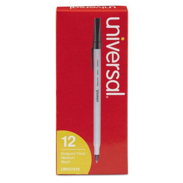 Universal Economy Black Ink Ballpoint Stick Oil-Based Pen (10 Packs of 12)