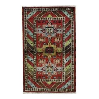 Herat Oriental Indo Hand-knotted Tribal Kazak Red/ Tan Wool Rug (3'2 x 5'2)