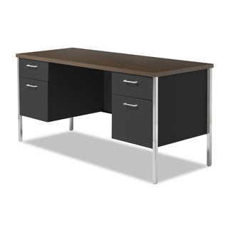 Alera Double Pedestal Steel Walnut/Black Credenza