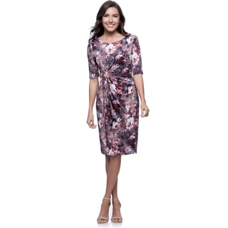 Connected Apparel Mauve Bouquet Print 3/4 Sleeve Dress