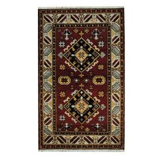 Herat Oriental Indo Hand-knotted Tribal Kazak Red/ Tan Wool Rug (3'2 x 5'1)