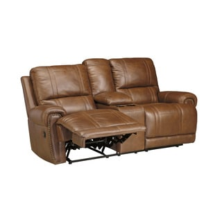 SB Signature Design by Ashley Paron Vintage Double Recliner Loveseat with Console