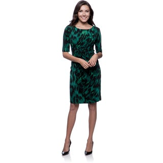 Connected Apparel Women's Emerald Animal Print 3/4 Sleeve Dress
