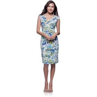 Connected Apparel Blue Draped Neck Tropical Print Dress