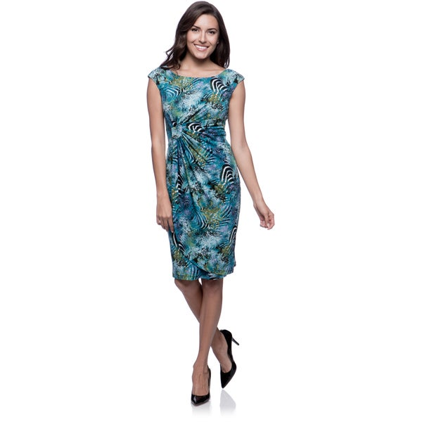 Connected Apparel Teal Jungle Print Ruched Waist Dress