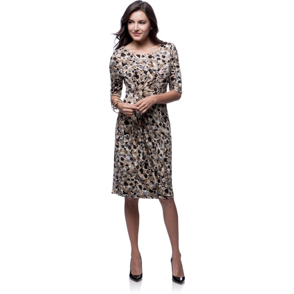 Connected Apparel Camel Blurred Dots 3/4 Sleeve Dress