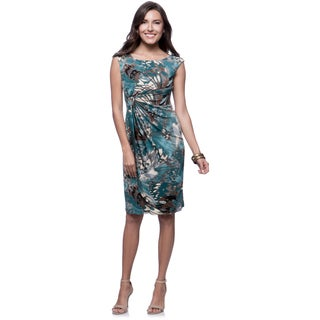Connected Apparel Teal Abstract Blue Leaf Ruched Waist Dress