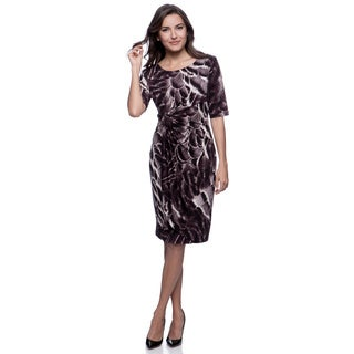 Connected Apparel Eggplant Abstract Print 3/4 Sleeve Dress