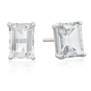 Sterling Silver Emerald-cut Aquamarine Earrings