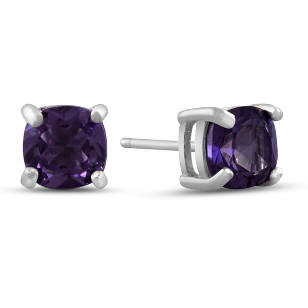 Sterling Silver Cushion Shape Purple Amethyst Earrings