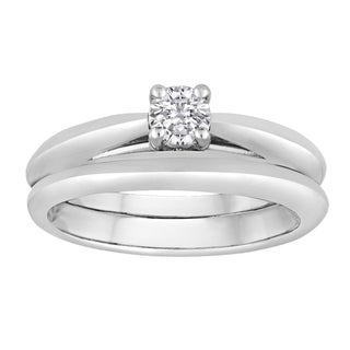 Platinaire 1/4 TDW Diamond Ring Solitaire Bridal Set (I-J, I2-I3)