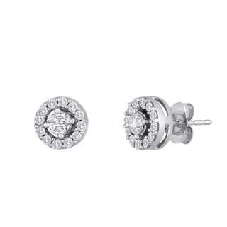 10k White Gold 1/2ct TDW Round Diamond Earrings (I-J, I2-I3)