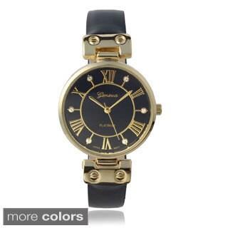 Geneva Platinum Rhinestone Marker Leather Band Watch