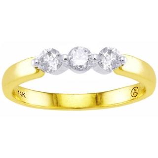 Beverly Hills Charm 14K Two-tone Gold 1/3ct TDW Diamond 3-stone Ring (H-I, I2-I3)