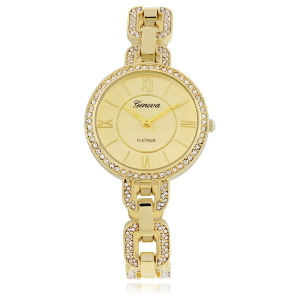 Geneva Platinum Rhinestone Watch