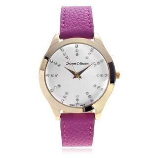 Journee Collection Rhinestone Marker Leather Strap Watch