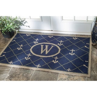 nuLOOM Handmade Estate Monogrammed Anchor Welcome Doormat (3' x 6')