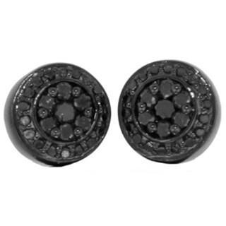 Sterling Silver 0.80ct TDW Black Diamond Earrings with Screw Backs (G-H, I1-I2)