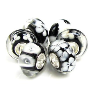 Queenberry Sterling Silver Black and White Flower Bubble Murano Glass 6-piece European Bead Charm