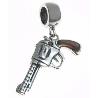 Queenberry Sterling Silver Brown Enamel Old Western Magnum Revolver Dangle European Bead Charm