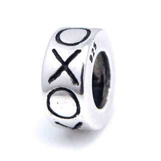 Queenberry Sterling Silver Hugs and Kisses XOXO European Bead Charm
