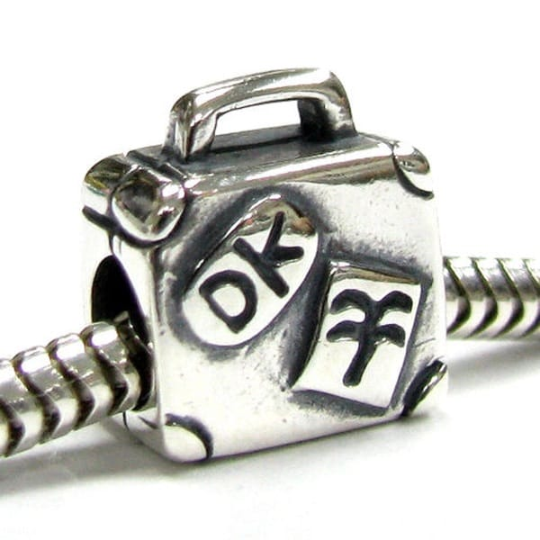 Queenberry Sterling Silver Suitcase European Bead Charm