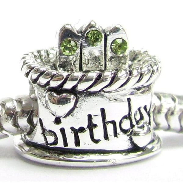 Queenberry Sterling Silver Green Cubic Zirconia Birthday Cake European Bead Charm