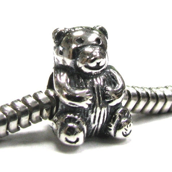 Queenberry Sterling Teddy Bear European Bead Charm