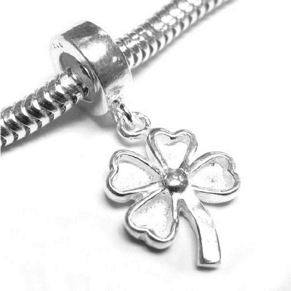 Queenberry Sterling Silver Four Leaf Clover Dangle European Bead Charm
